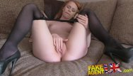 Hugh cock shemales Fakeagentuk unexpected creampie for sexy redhead