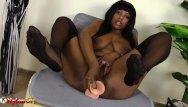 Ebony footjob clips Black girl in nylons masturbates and shows footjob skills