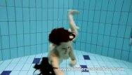Underwater safety strips for pool steps - Brunette kristy is stripping underwater