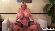 Cum eating mature couple Giant boobed mature woman fucks and eats cum