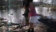 Ponds facial cream Cute asian teen dances around the duck filled pond