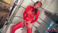 Girl shoves camera in her pussy Milf red shoves a dildo in her pussy while taking a shower