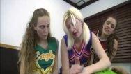 Cheerleaders get gangbanged - Cheerleaders triple handjob