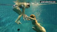 Under my bikini Two sexy amateurs showing their bodies off under water