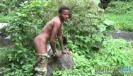 Free gay black streamin porn Brown soldier strips naked by the stream