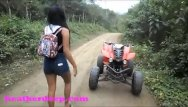 Vintage custom wheels Heather deep 4 wheeling on scary fast quad and peeing next to horses in the