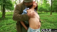 Youg girls cum Beautiful young girl hardcore fucks grandpa in the forrest gets facial cum