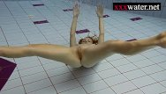 Lingerie in the pool Sexy hot girl swimming in the pool