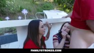Sexy stepmom sex son Familystrokes - sexy milf joins step-son daughter in threesome
