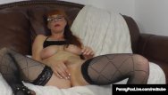 Redhead clits - Petite star penny pax massages her clit with a purple dildo