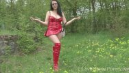 Red heah porn Kinky chick in a red outfit outdoors