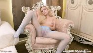 Toeless sheer pantyhose Cute blonde lena spanks strips off and masturbates in sheer nylon pantyhose