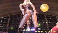 Adult stage show Busty oiled milf on public show stage
