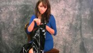 Leather strip weaving - Busty babe puts on her leather thigh boots to strip tease in black panties