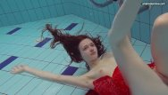 Adult swim show submissions - Red dressed teen swimming with her eyes opened