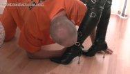 Bikini clad girl Kinky leather clad femdoms make inmate slave lick the cream off their boots