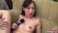 Crank handle anal toy Brunette asian skinny girl getting sex toy handled
