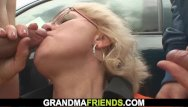 Vintage wrigley field Blonde old granny double fucked in the fields