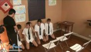 Gays blow their own horn - Cute twink students team up to blow their teacher
