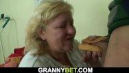 Grandmas boobs - Grandma with huge boobs rides his young cock