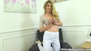 Red and white striped pants - English milf ashleigh peels off her white pants