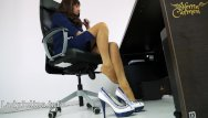 Dark tan long legs mature secretary - Mature office domina mit high heels nylons legs mistress