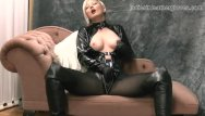 Asian soft sweater ladies - Nylon clad blonde rubs her soft leather gloves against big tits wet pussy