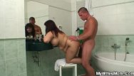Mom blowjob in bathroom - Busty mom and son-in-law fucking in the bathroom
