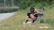 Gorgeous babes desperate to piss - Piss desperation - gorgeous babe pees on the ground in public while out jog
