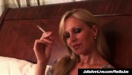 Carre ann inaba nude - Busty blonde milf julia ann puffs on cigarette nude in bed