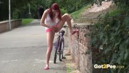 Barbie cycle vintage Sexy redhead babe kattie gold is out cycling when she feels sudden pee desp