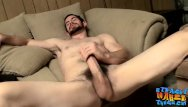 Gay straigh jocks Hairy jock wanking and stroking his thick hard dick solo