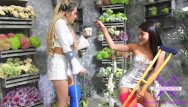 Naughty asian moms - Fetisch-concept com - 2 girls with long cast leg visit a flower store 1