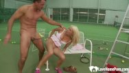 Nude at court Anal banging a pretty blonde on the court