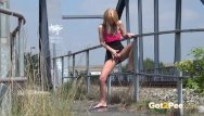 Girl desperate pee relieve hide Public pee - hot babe relieves pee desperation near railway