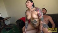 Dominate bbw Tattooed plumper dominated and fed with dom spunk