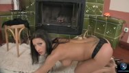 Fired on job for porn - Beauty nikki rider alone and horny in front of the fire