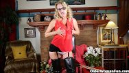 Mature women in leather galleries - American milf justine wants to play in leather lingerie