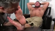 Comedy told them gay Perverted guy massages hunk feet and licks them real good
