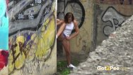 Sex and the city 2 pics Got2pee - hot brunette relieves her pee desperation in the city