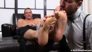 Gay bear lick armpit Attractive hunk relaxes while having armpits and feet licked