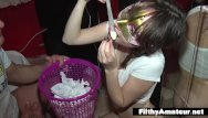 One hundred uses for cum - Depraved teen drinks cum from used condoms dp in real orgy