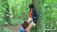 Sexy lesbian masturbating - Abby takes caroline on a sexy adventure in the forest