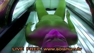 Adult internet tv broadcasting - Blonde teen fingers herself in live public voyeur solarium cam