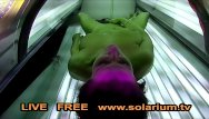 Cock throated.tv Hot horny girl masturbates in public solarium spy hidden voyeur cam