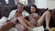 Password management thumb drive Daddy4k. skillful old man manages to fuck comely brunette on sofa