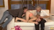 Daddy into her vagina Daddy4k. old pervert thrusts his fingers into snatch of pretty chick