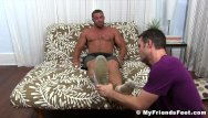 Gay homosexuality - Buffed hunk receives feet worshiping for a homosexual freak