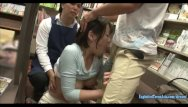 Asian beauty supplies store Sanada miki ambushed in book store jeans cut at the crutch and made to fuck
