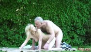 Big cock man small - Petite teen blonde takes old man cock in her wet pussy then gives blowjob